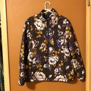 Lands End -quilted purple and goldenrod jacket XL